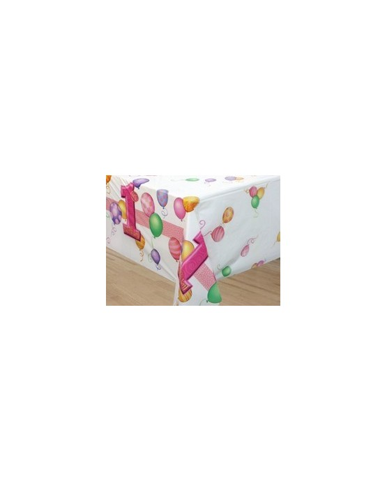 Obrus na 1. narodeniny - ružové balóniky 137 cm x 213 cm - 1 ks/P142