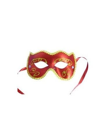Benátska maska -červeno-zlatá
