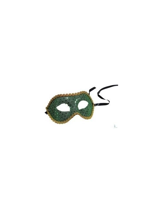 Maska Benátsky karneval -zelená s flitrami 1ks/P69