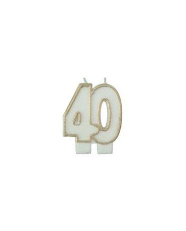 Sviečka číslo 40. -zlatý okraj