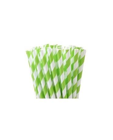 Slamky - bielo- zelené 8ks
