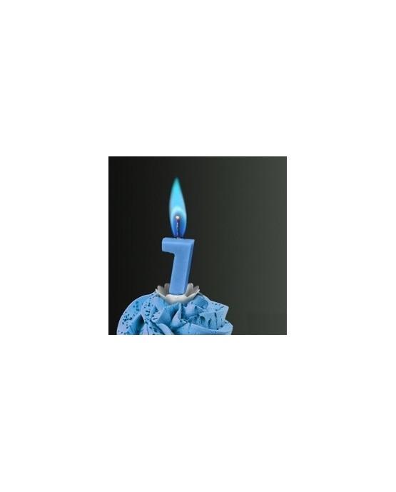 Sviečka - číslica 7 modrá s modrým plameňom 1ks/P26