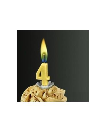 Sviečka - číslica 4 žltá so žltým plameňom 1ks/P16