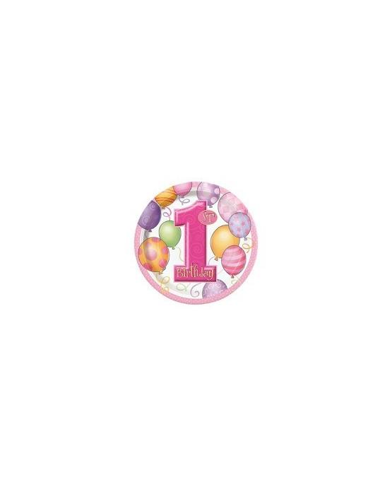 Tanieriky na 1. narodeniny - ružové balóniky 18cm 8ks/P142