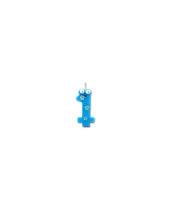 Sviečka - číslica 1 - modrá s postavičkou1ks/P146