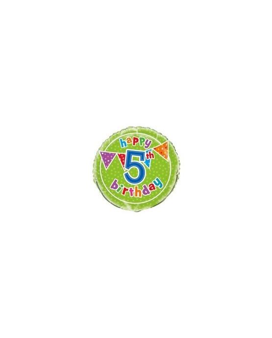 Fóliový balónik Happy Birthday- na 5. narodeniny 47cm 1ks/P56