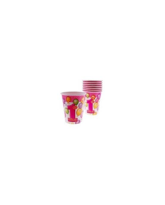Poháre na 1. narodeniny - ružové balóniky 270 ml - 8 ks/P142