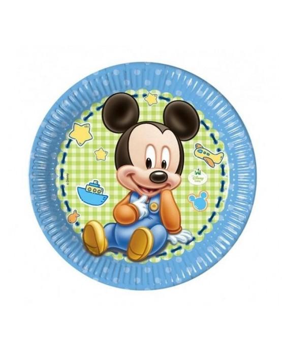 Tanieriky s motívom Mickey Mouse- Baby  23 cm - 8 ks/P174