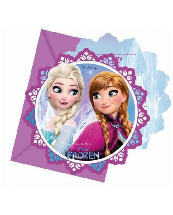 Pozvánka na narodeniny s motívom Frozen - kvet 6ks/P126