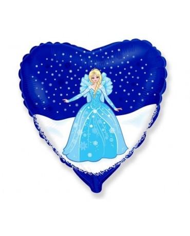 Fóliový balón srdce - ľadová kráľovná 47cm