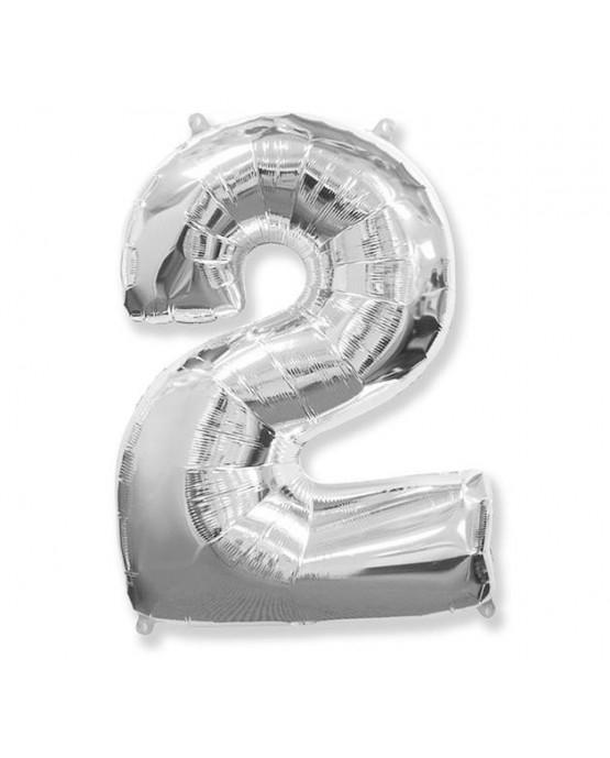 Fóliový balónik číslo - 2 strieborný 95cm 1ks/P55