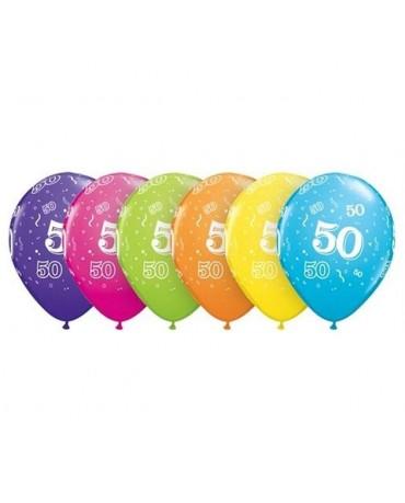 """Latexové balóniky s číslicou 50 - mix. farieb 11"""" 6ks/P87"""