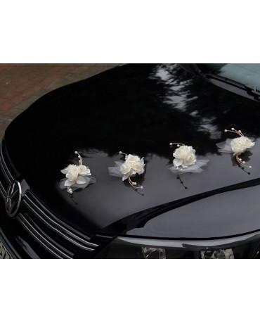 Ozdoba na auto -kvet - krémový 4ks