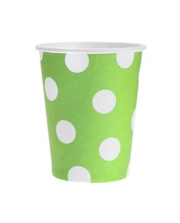 Papierové poháre - zelené s bielymi bodkami 270 ml - 6ks/P146