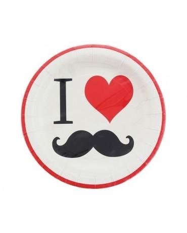 Tanieriky mustache - fúzy 18cm 8ks/P209