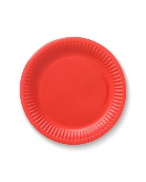 Papierové tanieriky - červené 18 cm - 6 ks/P118