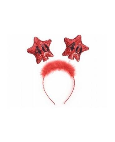 Čelenka - červená  s hviezdami 40 1ks/P89