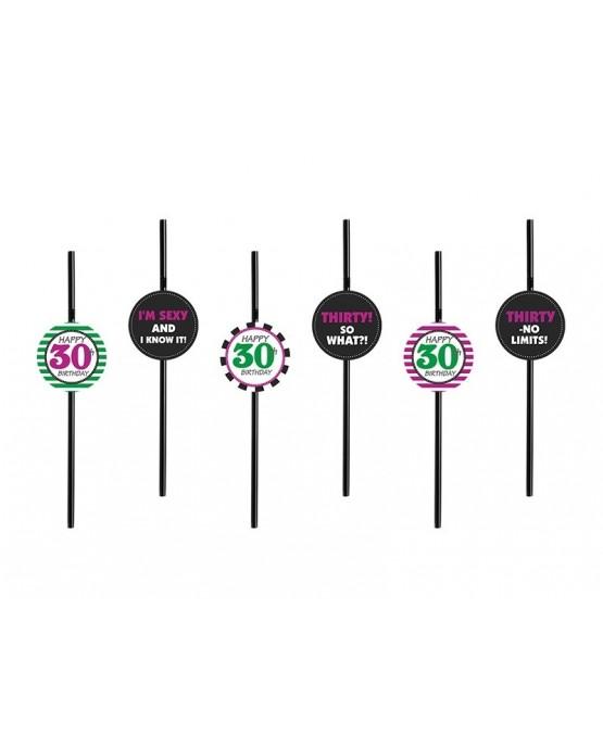 Slamky s motívom 30 - mix vzorov 6ks/P86