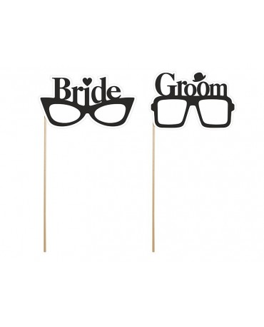 Rekvizity na fotenie - okuliare s nápismi Bride a Groom 2ks/P101