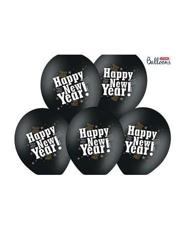 Latexové balóniky - čierne Happy New Year ! 30cm  10ks/P77