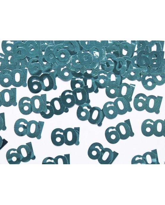 Kovovo - zelené  konfety číslice 60 - 15 g/P86