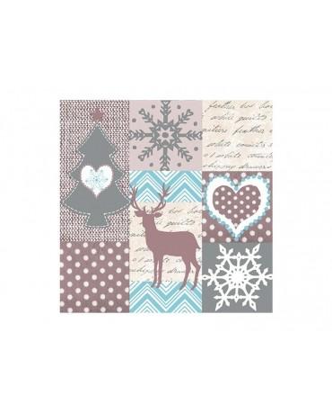Servítky s motívom vianoc - béžovo - modré  33cm  20ks/P11