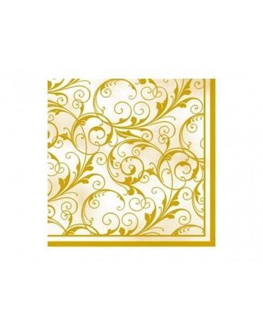 Servítky - krémové -zlaté vzory 20ks