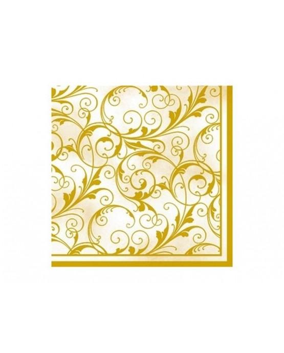 Krémové servítky so zlatými ornamentami 33cm 20ks/P21