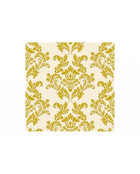 Krémové servítky so zlatým vzorom damašk 33cm 20ks/P21