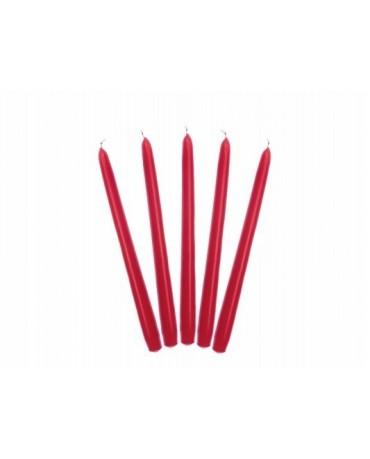 Sviečky - matné červené 24cm 10ks