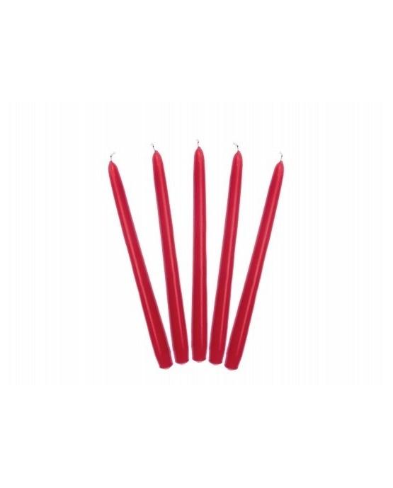 Sviečky - matné červené 24cm 10ks/P81