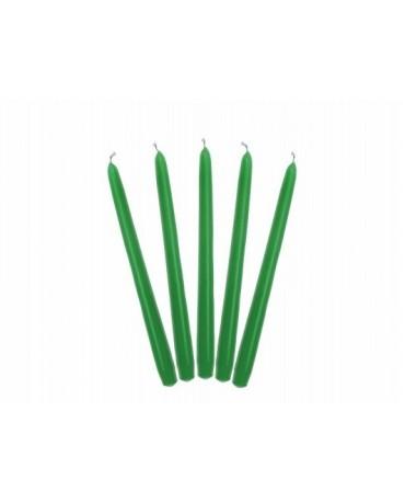 Sviečky - matné zelené  24cm 10ks