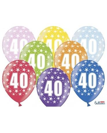 Latexové balóny číslo 40-hviezdy 30cm 6ks