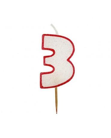 Sviečka - číslica 3 - trblietavá s červeným okrajom 6cm 1ks/P99