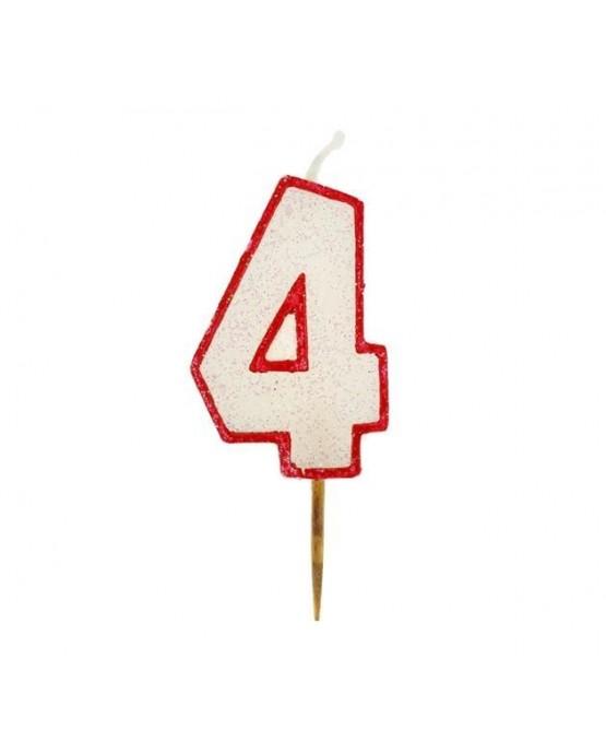 Sviečka - číslica 4 - trblietavá s červeným okrajom 6cm 1ks/P99