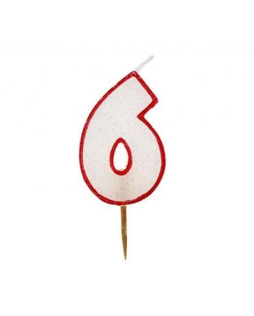 Sviečka číslo 6 - trblietavá-červená 6cm 1ks