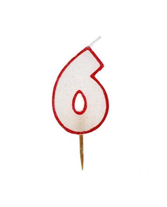 Sviečka - číslica 6 - trblietavá s červeným okrajom 6cm 1ks/P99