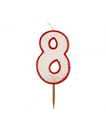 Sviečka - číslica 8 - trblietavá s červeným okrajom 6cm 1ks/P99