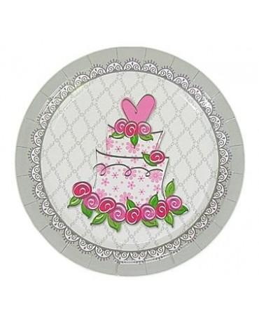 Tanieriky s motívom svadobná torta - 23cm 6ks/P218