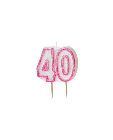 Sviečka na 40. narodeniny - s ružovým okrajom 1ks
