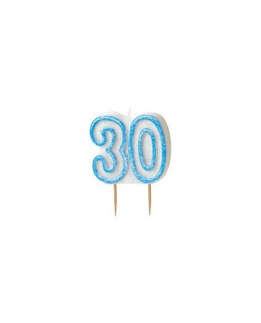 Sviečka číslo 30 -modrý okraj