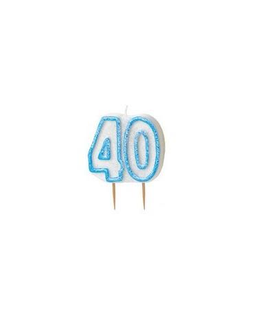 Sviečka číslo 40 -modrý okraj