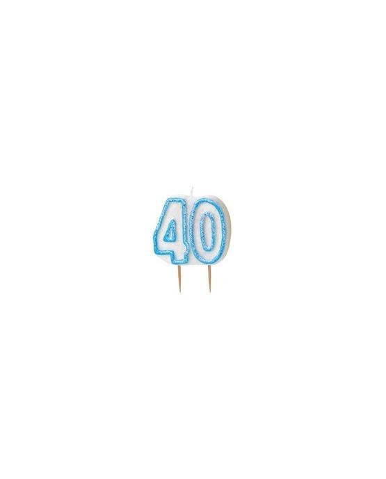 Sviečka na 40. narodeniny - s modrým okrajom 1ks