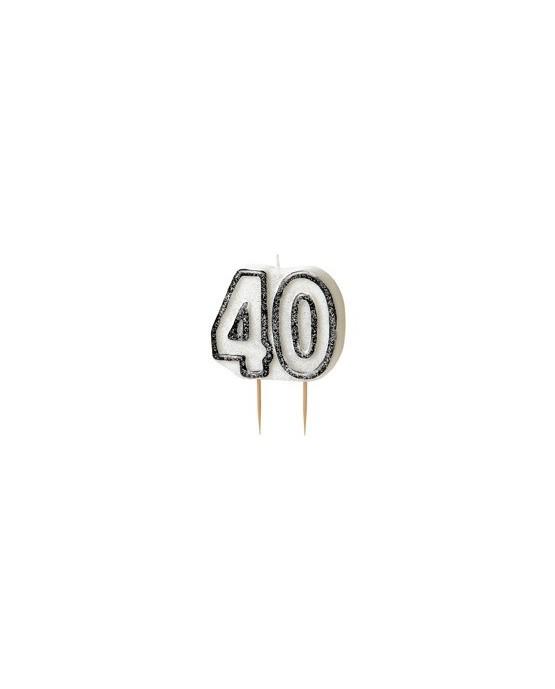 Sviečka na 40. narodeniny - s čiernym okrajom 1ks