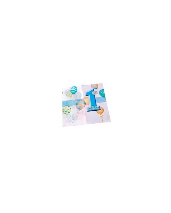 Obrus na 1. narodeniny - modré balóniky 137 cm x 213 cm - 1 ks/P147