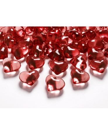 Dekorácia - kryšt. srdce -červené 2,1 cm - 30 ks