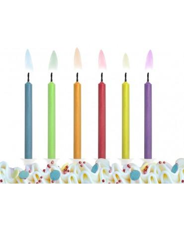 Sviečky - rôznofarebné plamene 6ks