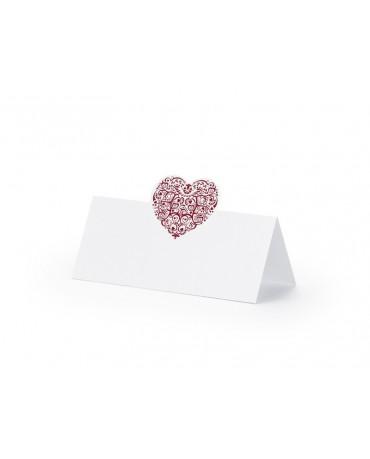 Menovky na stôl - červené srdce 25ks