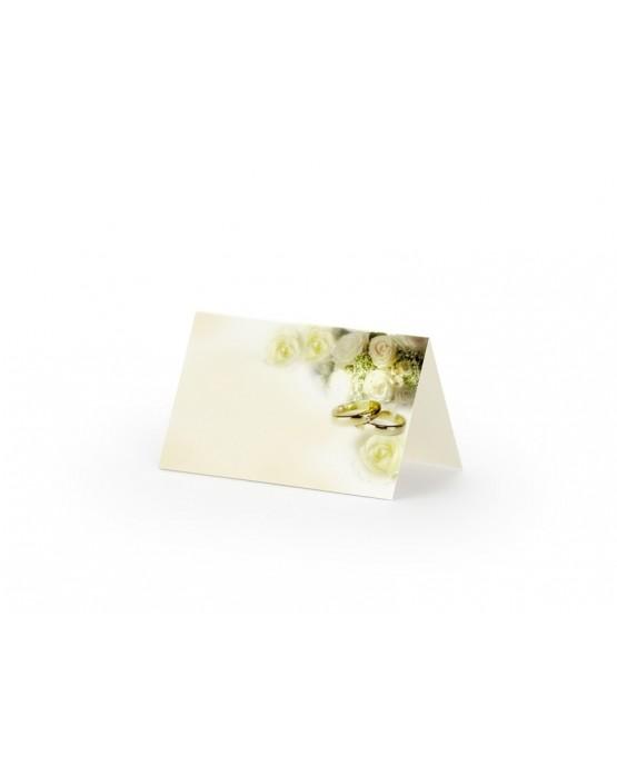 Menovky na stôl - krémové-obrúčky a biele ruže 25ks