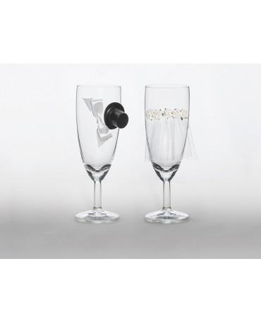 Poháre na šampanské - ženích a nevesta 2ks